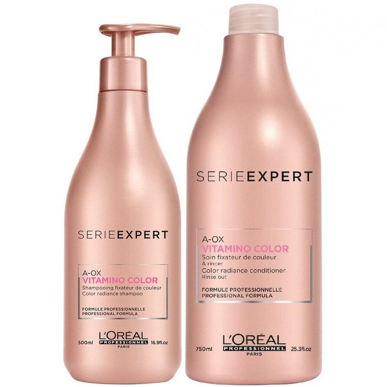 Shampoo 500ml Acondicionador 750ml Vitamino Color A Ox Serie Expert Loreal Profesional